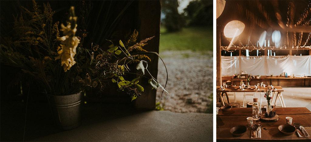 naturalny wystrój stodoły na wesele talerzyki z korka