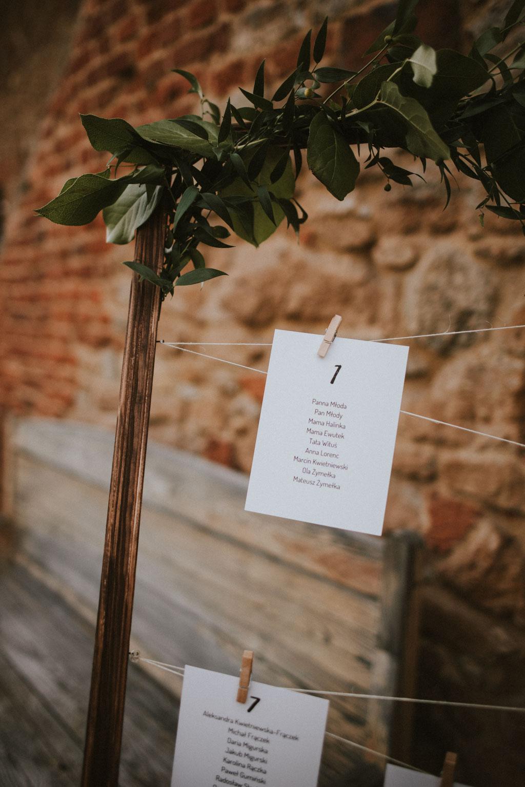 Ślub w Dolinie Cedronu Kraków Leńcze pytlikbak rozpiska stołów gości