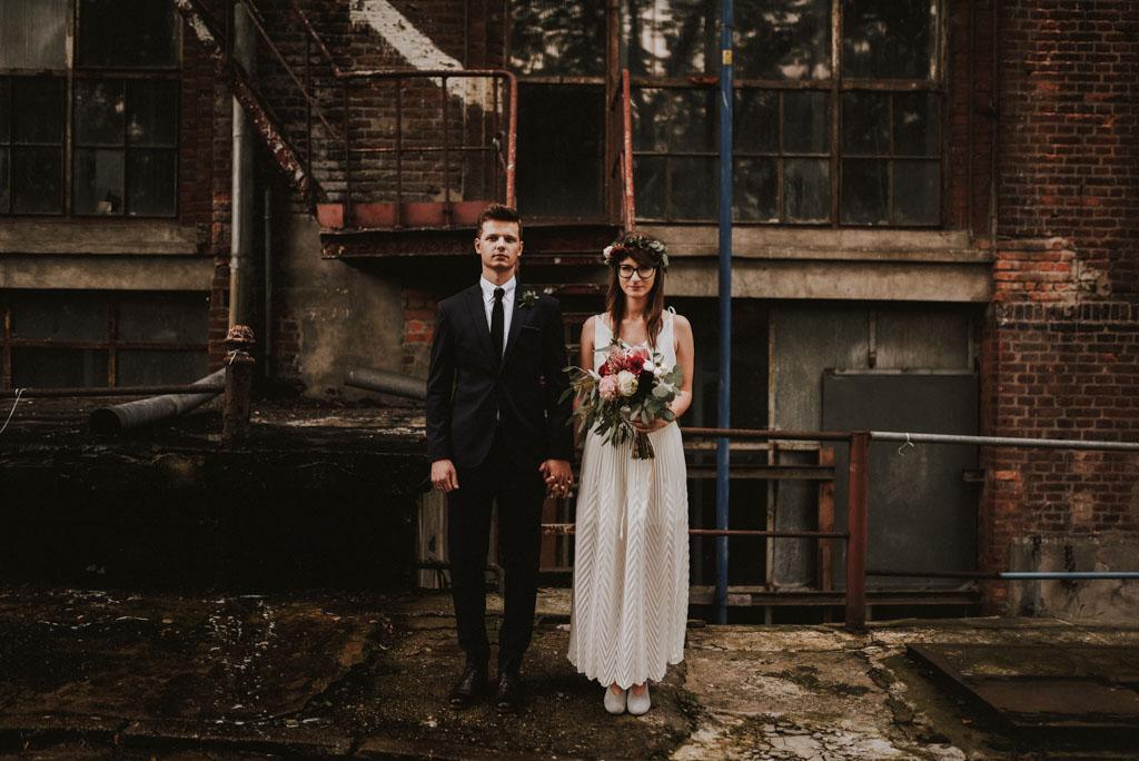 wesele tektura boho sesja w dniu ślubu industrialne wesele