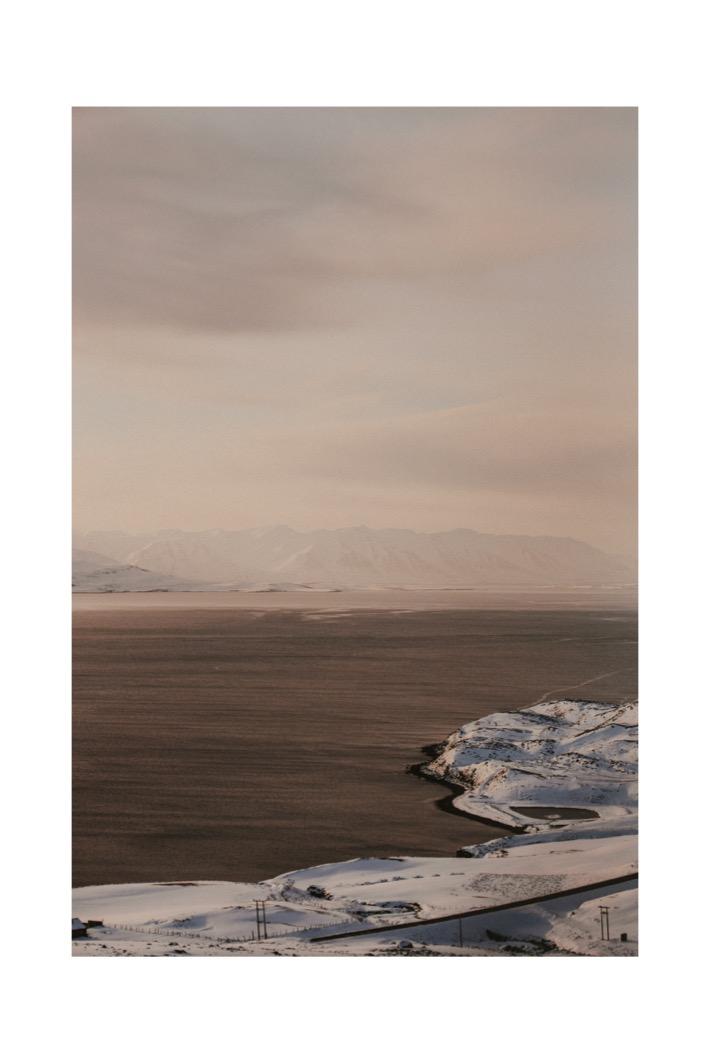 road to akureyri iceland sunset