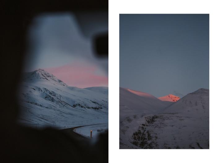 islandia zachód słońca zimą